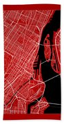 Montreal Street Map - Montreal Canada Road Map Art On Color Bath Towel