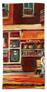 Montreal Street Scene Paintings Bath Towel