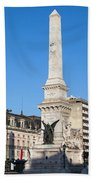 Monument On Restauradores Square In Lisbon Hand Towel