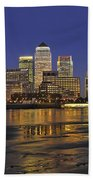 Moonrise Over River Thames Flowing Past Canary Wharf Bath Towel