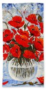 Morning Red Poppies Original Palette Knife Painting Bath Towel