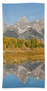 Morning Reflection Of The Teton Range Bath Towel