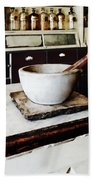 Mortar And Pestle In Apothecary Bath Towel