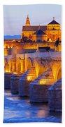 Mosque-cathedral And The Roman Bridge In Cordoba Bath Towel