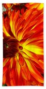 Mostly Orange Dahlia Flower Bath Towel