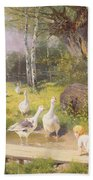 Mother And Child With Geese Bath Towel