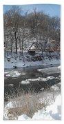 Motor Mill Winter Pano Bath Towel