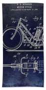 1903 Motorcycle Patent Blue Bath Towel