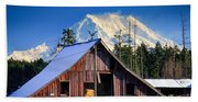 Mount Rainier And Barn Bath Towel