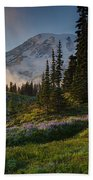 Mount Rainier Evening Fog Bath Towel