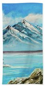 Mountain Lake In Winter Original Painting Forsale Bath Towel