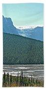 Mountain Peaks From Icefields Parkway-alberta Bath Towel