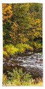 Mountain Stream In Autumn Bath Towel