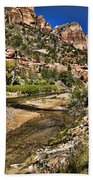 Mountains And Virgin River - Zion Bath Towel