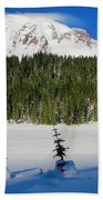 Mt Rainier And Three Trees Bath Towel