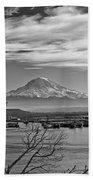 Mt. Rainier Over The Port Of Tacoma Bath Towel