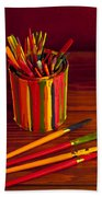 Multi Colored Paint Brushes Bath Towel