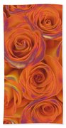 Multi Rose Electric Orange Bath Towel
