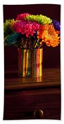 Multicolored Chrysanthemums In Paint Can Bath Towel