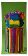 Multicolored Paint Can With Brushes Bath Towel