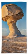 Mushroom Formation In White Desert  Bath Towel