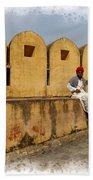 Musician - Amber Palace - India Rajasthan Jaipur Bath Towel