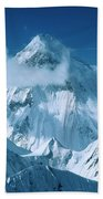 Mustagh Tower At Center And Masherbrum Bath Towel