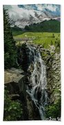 Myrtle Falls In Front Of Mt. Rainier Bath Towel