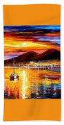 Naples-sunset Above Vesuvius - Palette Knife Oil Painting On Canvas By Leonid Afremov Bath Towel