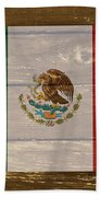 Mexico National Flag On Wood Bath Towel