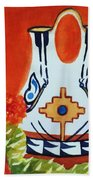 Native American Wedding Vase And Cactus-square Format Bath Towel