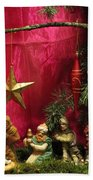 Nativity Scene In Red Bath Towel
