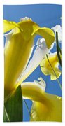 Nature Art Prints Yellow White Irises Flowers Bath Towel