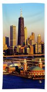 Navy Pier In The Lake At Sunrise, Lake Hand Towel