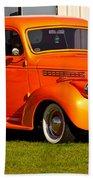 Neat Vintage Chevrolet Truck In Bright Orange Bath Towel