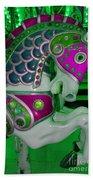Neon Green Carousel Horse Bath Towel