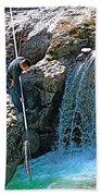 Net Fishing In Bulkley River In Moricetown-british Columbia-canada Bath Towel