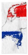 Netherlands Painted Flag Map Bath Towel