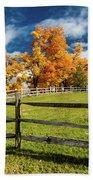 New England Farm With Autumn Sugar Bath Towel