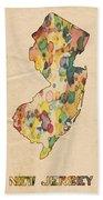 New Jersey Map Vintage Watercolor Bath Towel
