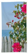 New Photographic Art Print For Sale On The Fence Montecito Bougainvillea Overlooking The Pacific Bath Towel