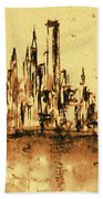 New York City Skyline 79 - Water Color Panorama Bath Towel