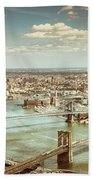 New York City - Brooklyn Bridge And Manhattan Bridge From Above Bath Towel