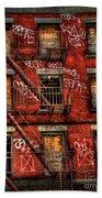 New York City Graffiti Building Bath Towel