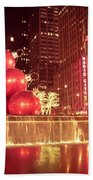 New York City Holiday Decorations Bath Towel