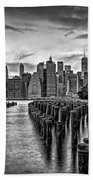 New York City Skyline Sunset Hues Bw Bath Towel