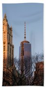 New York City Skyline Through The Trees Bath Towel