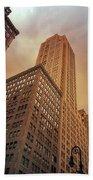 New York City - Skyscraper And Storm Clouds Bath Towel