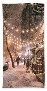New York City - Winter Snow Scene - East Village Bath Towel by Vivienne Gucwa