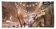 New York City - Winter Snow Scene - East Village Bath Towel